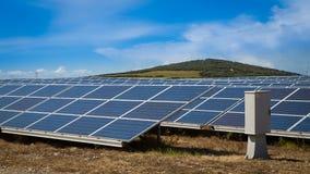 Solar panels generating renewable energy. Many solar panels to generate green renewable energy Stock Photography