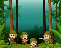 Many soldiers in a jungle. Illustration of many soldiers in a jungle Royalty Free Stock Photos