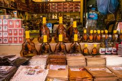 The Old Market with many souvenir stores in Siem Reap, Cambodia stock photo