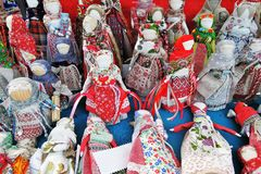 Many souvenirs from Russia. Obereg dolls dolls which keep people safe from harm Royalty Free Stock Photo
