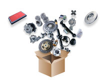 Many spare parts flying out of the box Royalty Free Stock Images