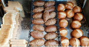 Many species of Black  wholegrain small french baguette   bread Stock Photo