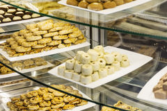 Many species of  cookies in a pastry shop Royalty Free Stock Photo