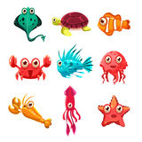 Many species of fish and marine animal life stock illustration