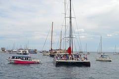 Sailing Yacht Many Spectator Boats Royalty Free Stock Photo