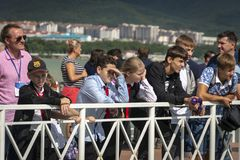 Many spectators and sports fans are on the pier and are waiting for the Russian Aquabike Championship to begin royalty free stock photography