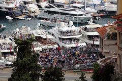 Many Spectators watch the F1 Monaco Grand Prix 2016 Stock Photos