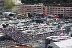 Many Spectators watch the F1 Monaco Grand Prix 2016 Royalty Free Stock Image