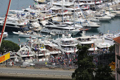 Many Spectators watch the F1 Monaco Grand Prix 2016 From the Yac Royalty Free Stock Photo