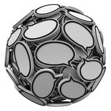 Many Speech Bubbles in a Sphere Cluster Talking Feedback Royalty Free Stock Images