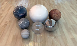 Many spheres with construction materials Royalty Free Stock Photos