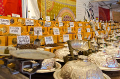 Many spices at the arabic market. Royalty Free Stock Images
