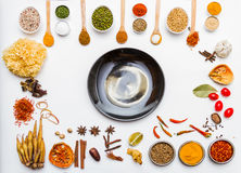 Many spices and herb for health background. Stock Photography