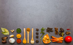 Many spices and herbs selection background. Royalty Free Stock Images