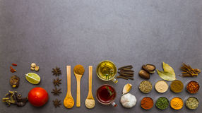 Many spices and herbs selection background. Stock Photography