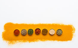Many spices and herbs selection background. royalty free stock photos