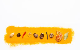 Many spices and herbs selection background. Royalty Free Stock Image