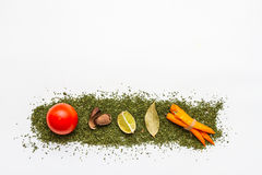 Many spices and herbs selection background. Royalty Free Stock Photography