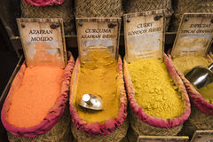 Many spices for sale on the street to the Indian market Stock Photos