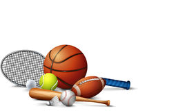 Many sport equipments on the floor Stock Photos