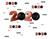 Many Squash ball 2020 Designs with many Balls. On a White Background vector illustration