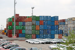 Many stacked cargo containers Royalty Free Stock Photo