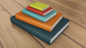 Many stacked colored books. 3d render. Many stacked colored books Royalty Free Stock Photo