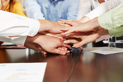Many stacked hands as teamwork concept royalty free stock photo