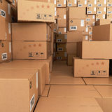 Many Stacks of Cardboard Boxes, Stock Photography