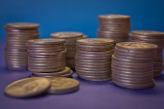 Many stacks of coins Stock Photography