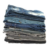 Many stacks of jeans Royalty Free Stock Photography
