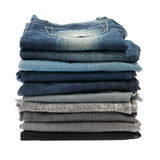 Many stacks of jeans Royalty Free Stock Image