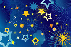 Many stars,vector illustration. Many stars, suns and cloud,vector illustration Stock Images