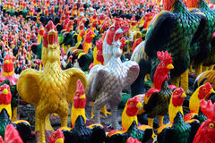 Many statues of chickens. At  King Somdatprajwotaksinmaharat at Tak province, Thailand Stock Photography