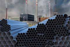 Many steel pipes stacked. Metallurgy industry concept. 3D rendered illustration. Many steel pipes stacked. Metallurgy industry concept. 3D rendered illustration stock illustration