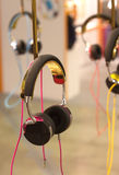 Many stereo headphones hangs closeup Royalty Free Stock Photo