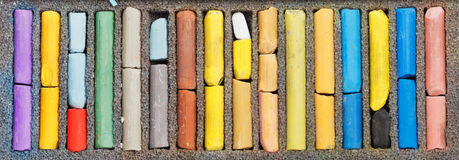 Many sticks of used artistic dry pastel Royalty Free Stock Photo
