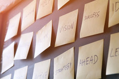 Many sticky notes attached to blackboards Royalty Free Stock Images