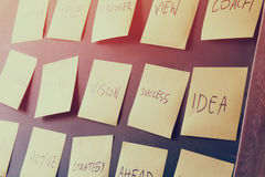 Many sticky notes attached to blackboards with text Royalty Free Stock Images