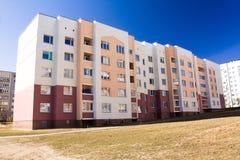 Many-storeyed apartment house. The usual painted many-storeyed apartment house (mass constructions of habitation Stock Photo