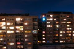 Many-storied buildings at night Royalty Free Stock Photography