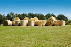 Many straw bales royalty free stock photography