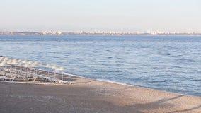Many straw beach umbrellas at the seashore in stock video