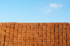 Many straw or hay bales stacked on a big pile Stock Photos