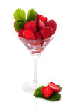 Many strawberries in glass isolated Royalty Free Stock Photography