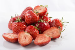 Many strawberries on white acrylic Stock Photography