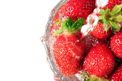 Many strawberry in the glass bowl Stock Photos