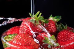 Many strawberry in the glass bowl Stock Image