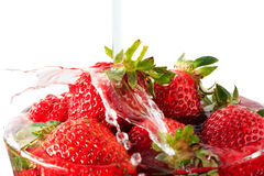 Many strawberry in the glass bowl Stock Photo