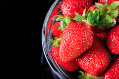 Many strawberry in the glass bowl Royalty Free Stock Image